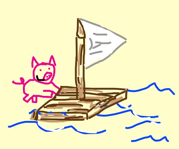Piglet pushing a Raft