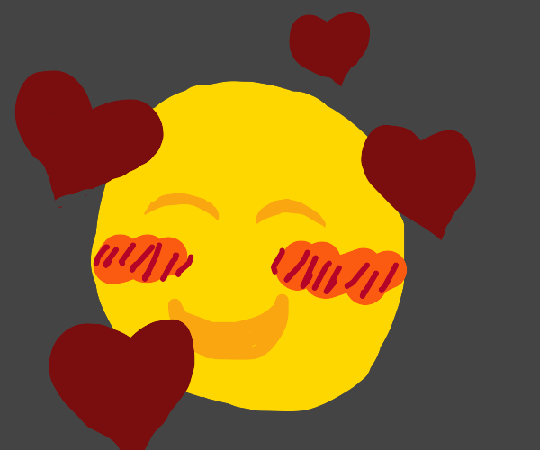 Blushing smiley face surrounded by hearts