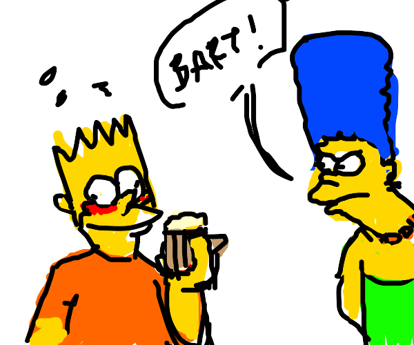 Bart Simpson gets drunk in front of mother