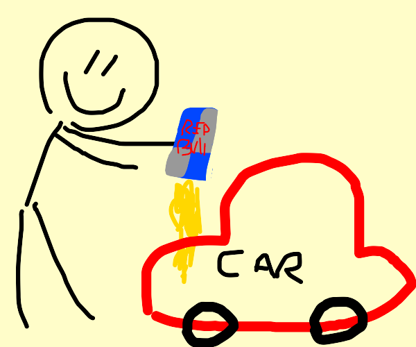Pouring redbull out of your car