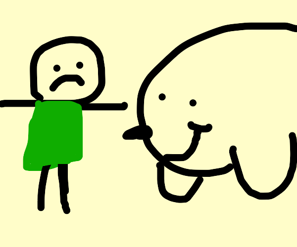 man with green shirt is surprised by a seal