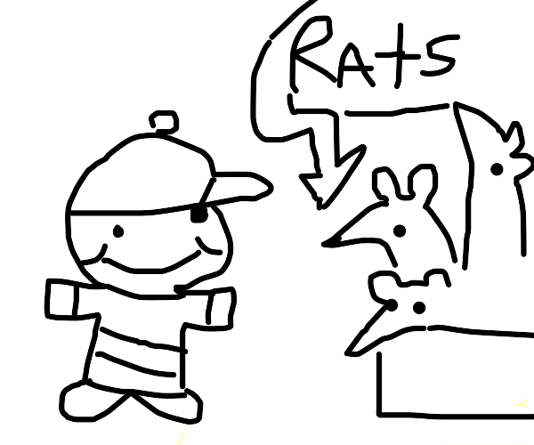 Child is looking at a rat exhibit