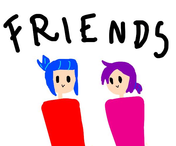 purple and blue hair friends