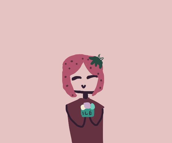 Strawberry girl eating ice cream