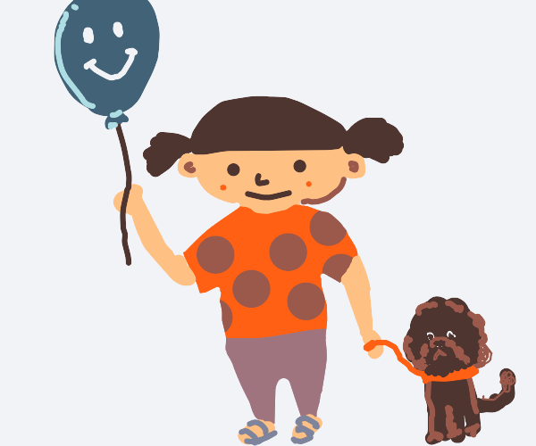 Cute kid with dog holds a happy balloon