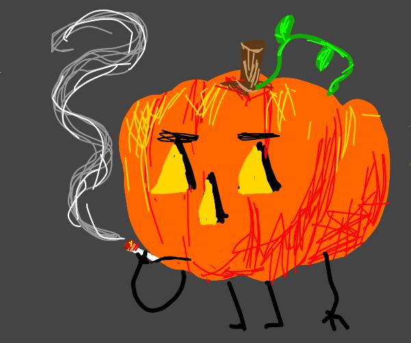 Jack-o-lantern taking a smoke break