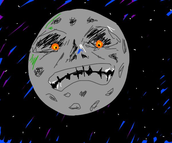 Majora's Mask moon frowns looking at Earth