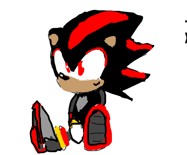 shadow the hedgehog sitting down on ground