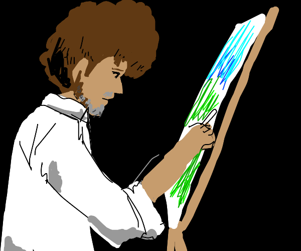 Dude with brown afro painting