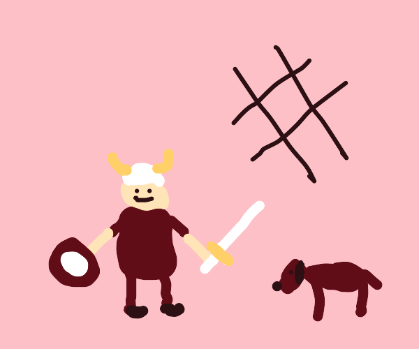 viking with a dog and a hashtag
