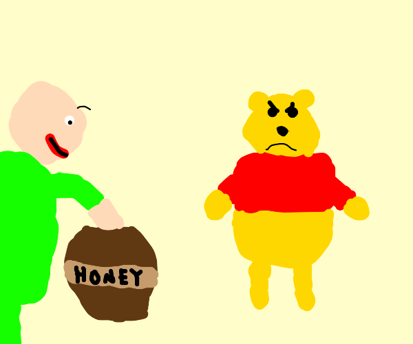 A hand is in Pooh's hunny!!!!!!!