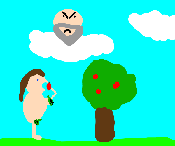Eve eats forbidden Apple in front of mad God