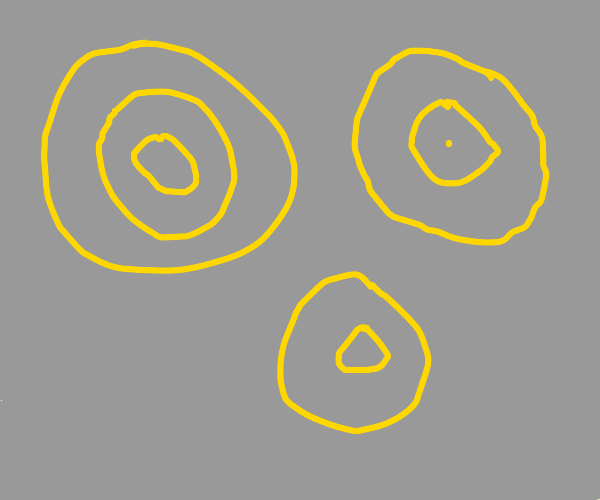 yellow concentric circles on grey