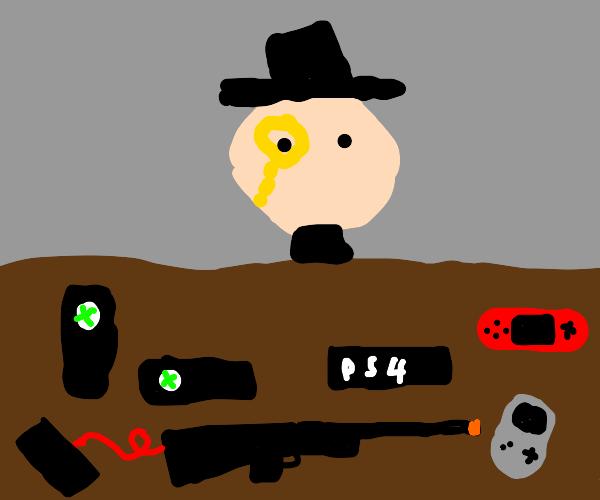 rich man flexing consoles