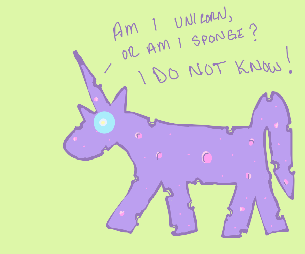Unicorn shaped sponge has existential crisis