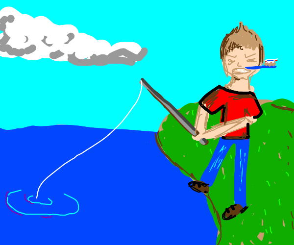man fishing with an iron rod and a toothbrush