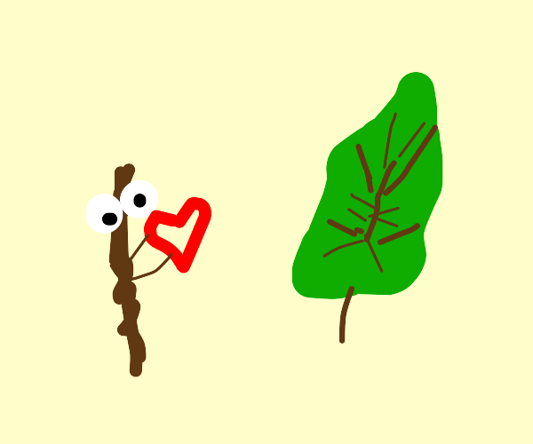 """stick in """"love"""" with a leaf"""