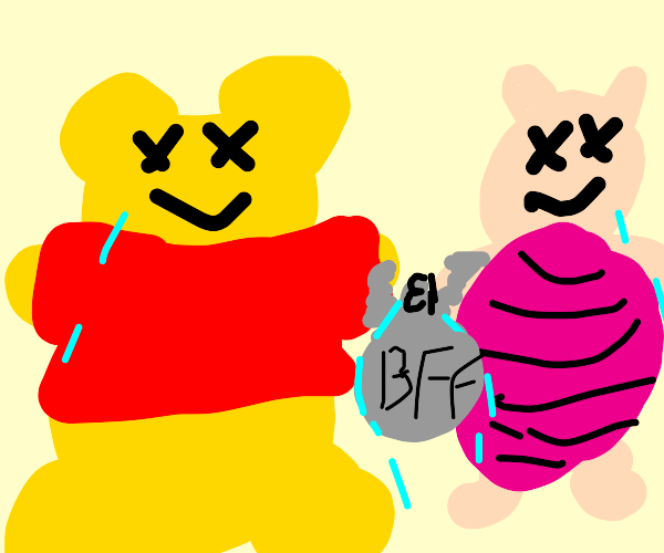 Winnie the Pooh and Piglet are bffs