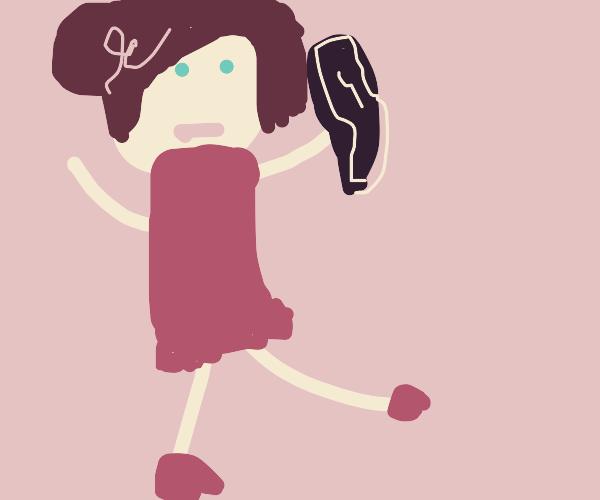 Ballerina holding baseball bat