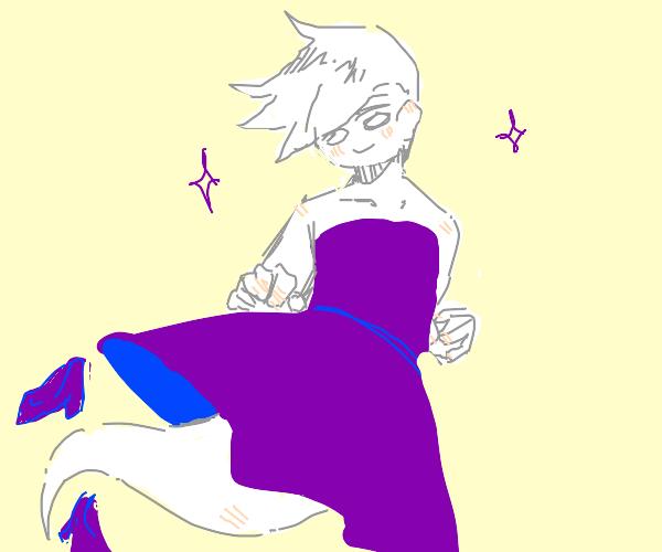 lil ghost man wearing a purple dress an heels