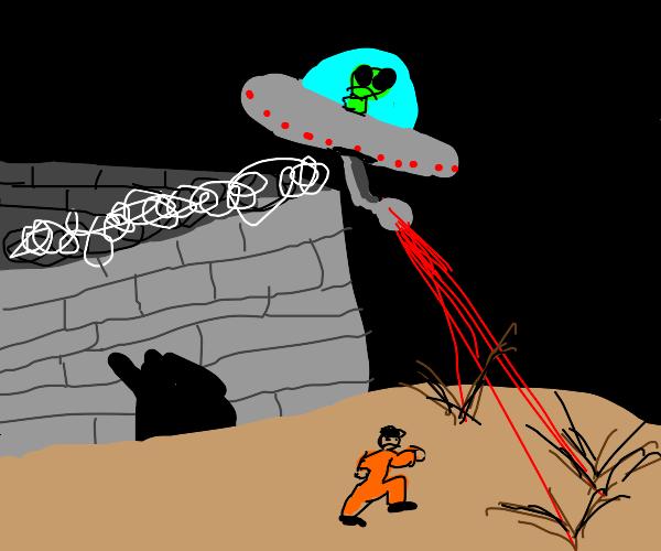 Man escapes prison and ufo