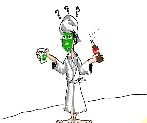 Girl wearing her mask all wrong drinks Coke.