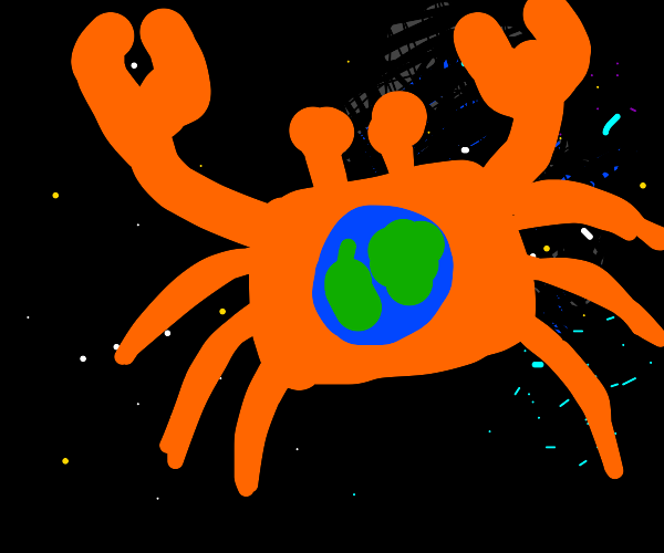 Crab in space with Earth painted on its back