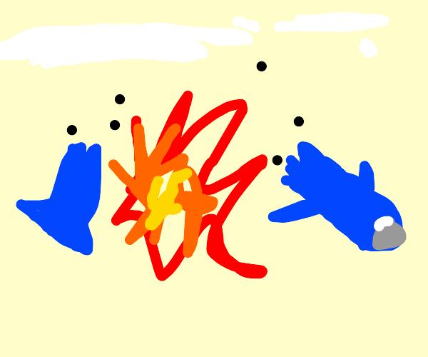 Blue airship exploding mid-air.