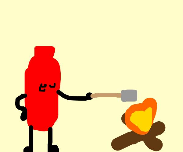 red bottle roasting a marshmallow