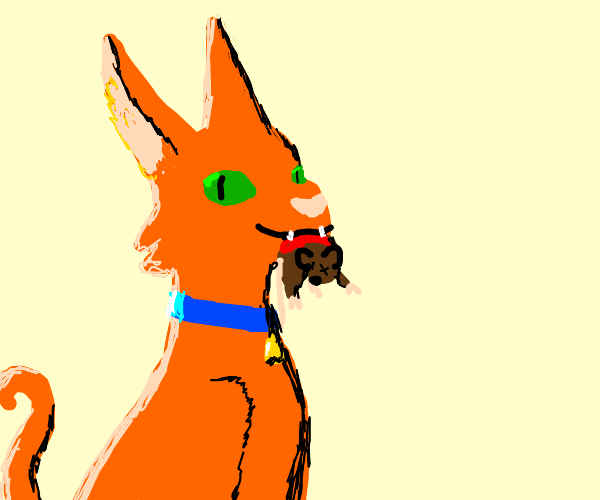 cat with a bloody dead mouse in mouth