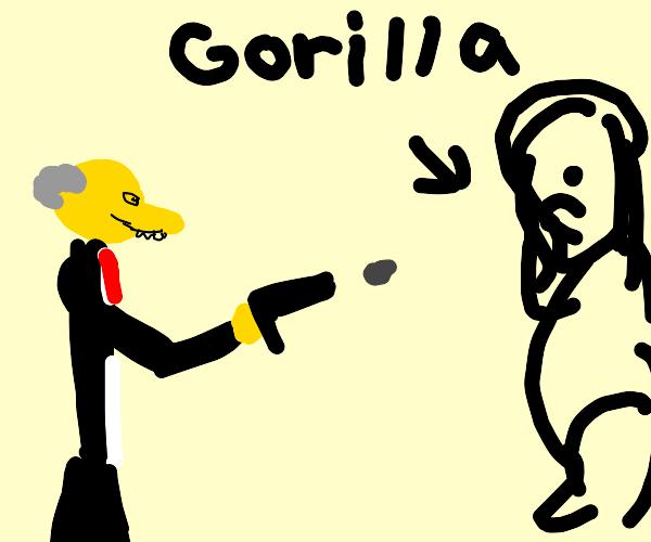 Mr. Burns shoots a gorilla