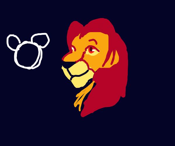 mickey and adult simba