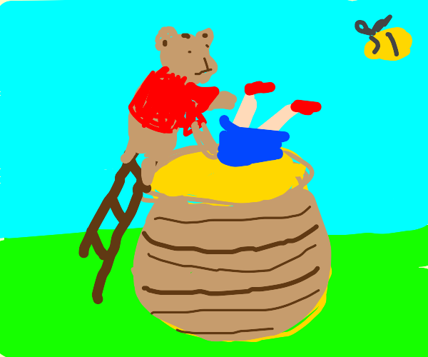 Winnie the pooh about to drown someoneinhoney
