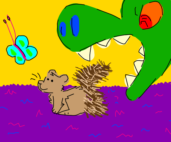 Distracted squirrel about to get dinosaured