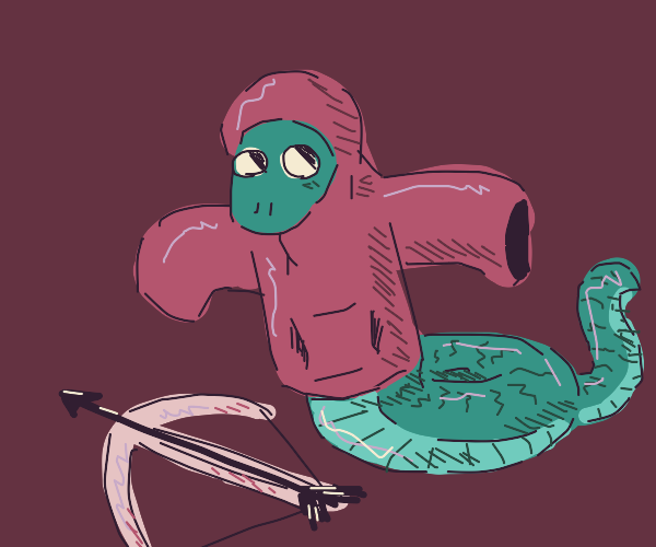 Snake in hoodie with a crossbow