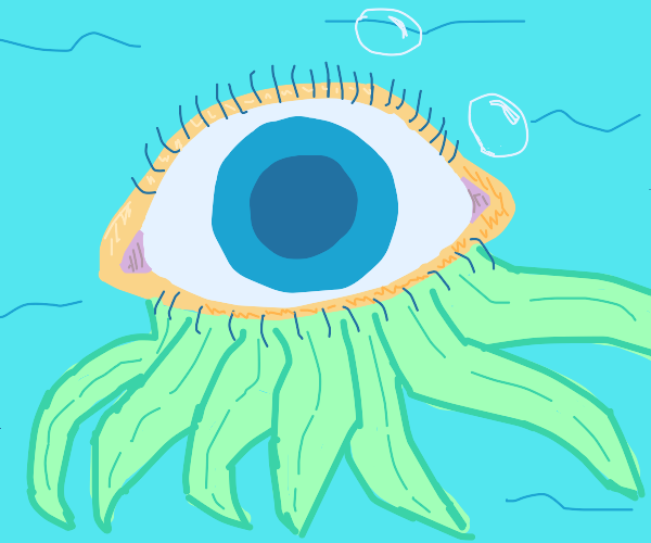 Eyeball with seaweed tentacles