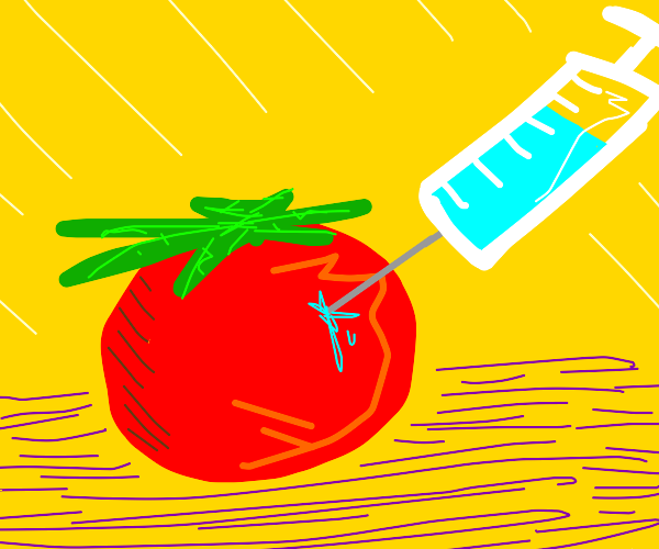 Injecting something into a tomato