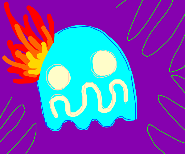 A ghost catching on fire