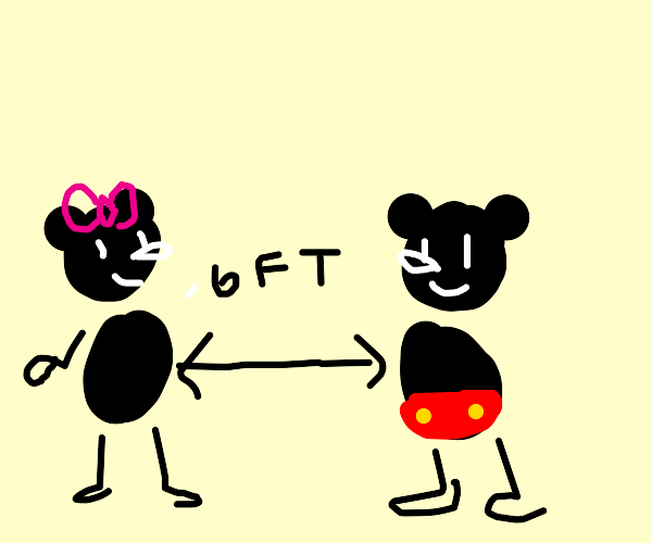 Mickey mouse practices safe social distancing