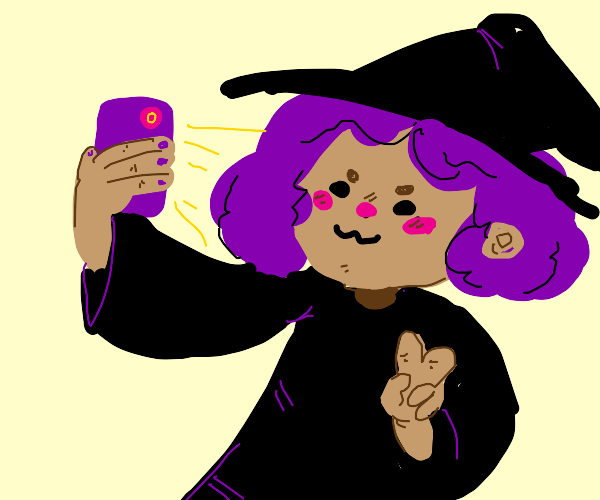 purple haired witch takes a cute selfie