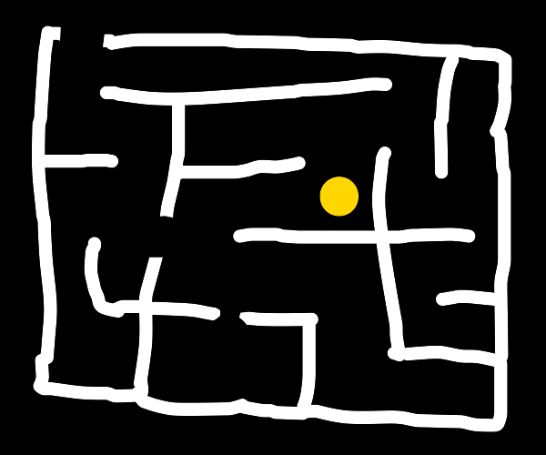 Yellow circle in a maze