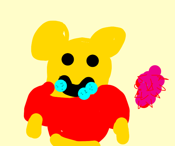 Winnie the Pooh eating a Dragonfruit