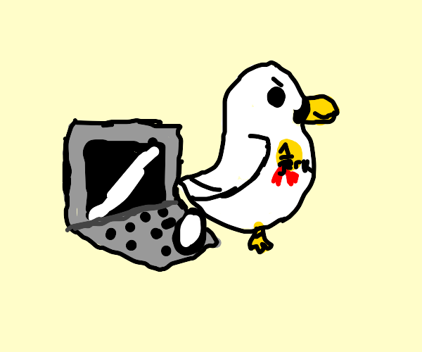 Chicken laying an egg on a laptop like a jerk