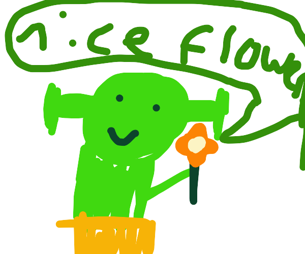 Shrek with a flower in his mouth.