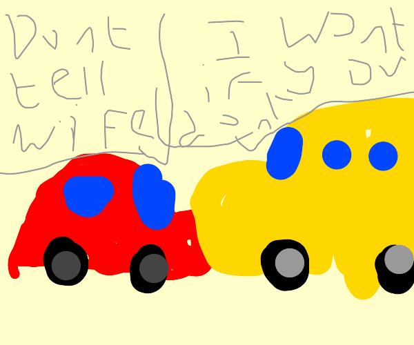 Car and bus have secret affair.
