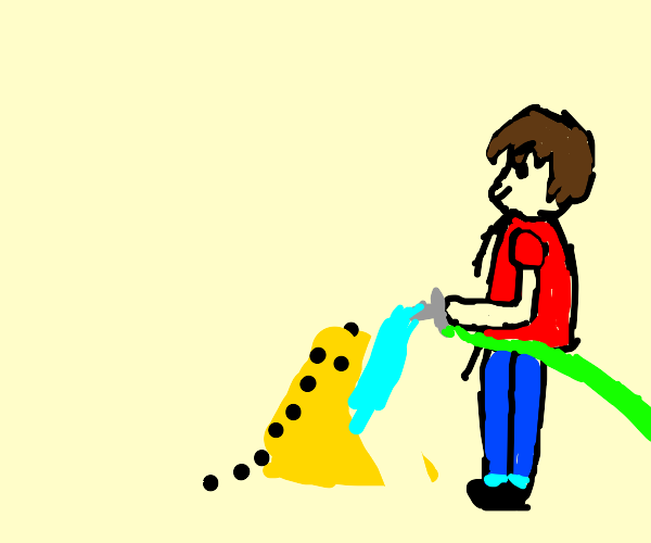 Man destroying an ant colony with water