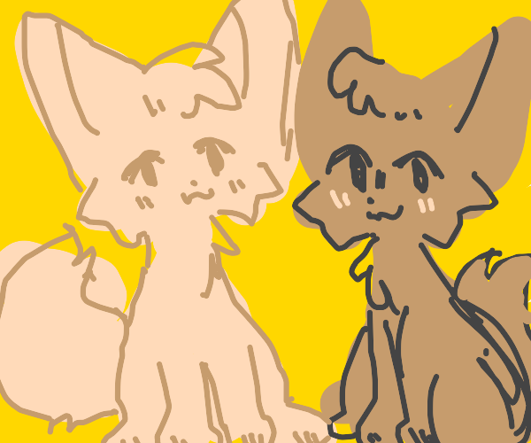 2 fennec foxes