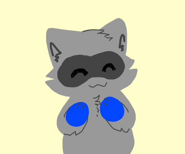 Cute raccoon with blue paw