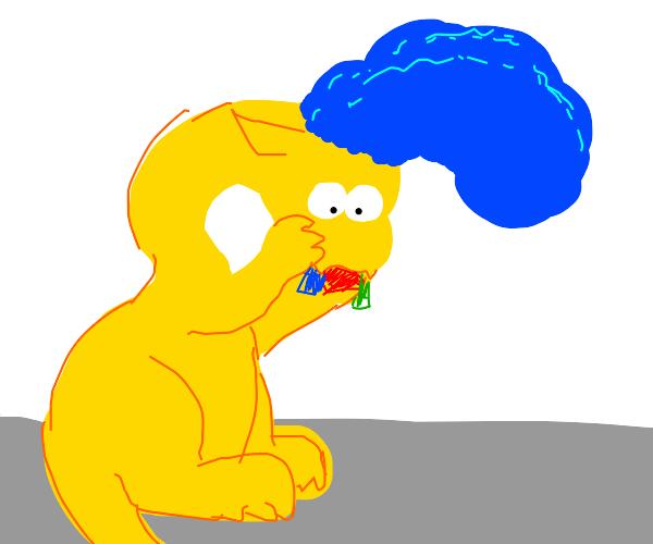 Marge Simpson dragon eating toys