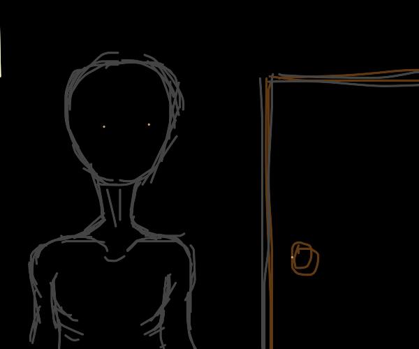 Shadowy spook keeping an eye on the door